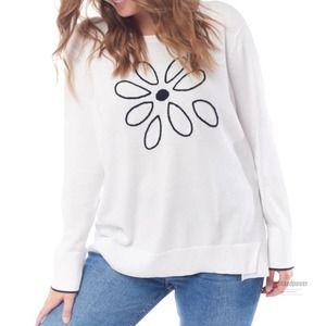 Lisa Todd Loves Me Loves Me Not Flower Sweater EUC
